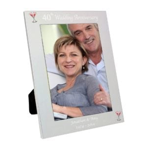 Personalised Silver 5x7 40th Wedding Anniversary Photo Frame