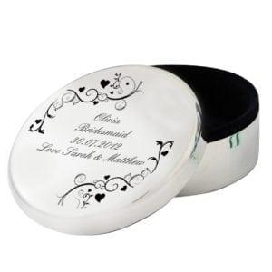 Personalised Black Swirl Round Trinket Box