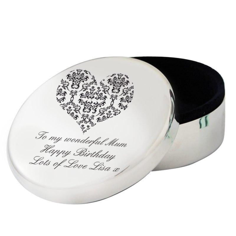 Personalised Damask Heart Round Trinket Box