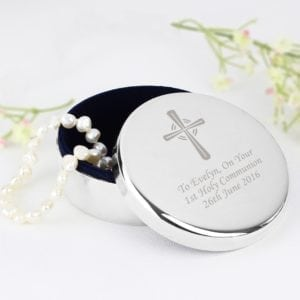 Personalised Silver Cross Trinket Box – Ideal For Rosary Beads