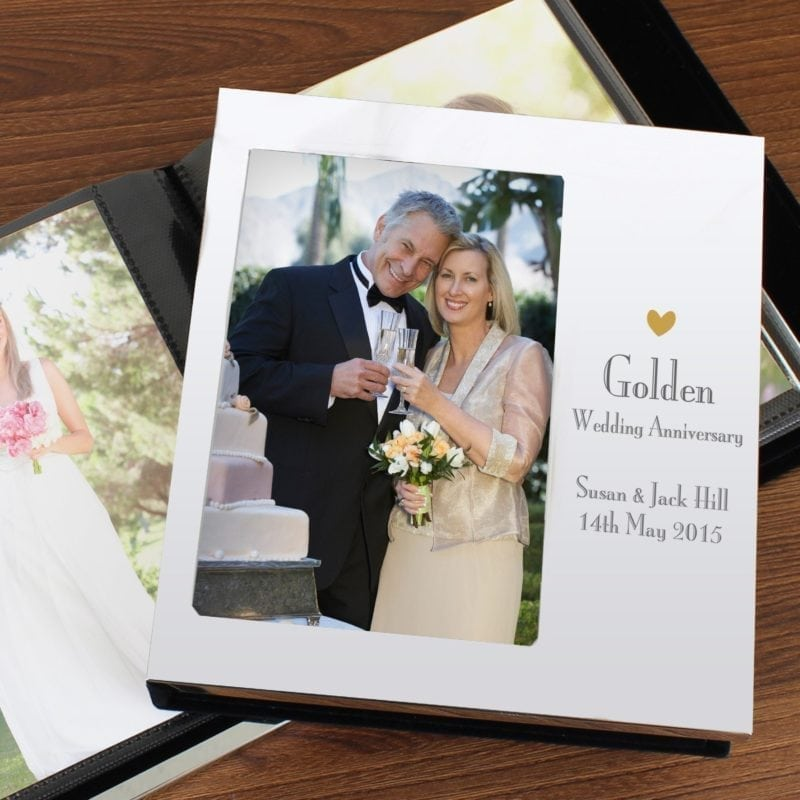 Personalised Decorative Golden Anniversary Photo Frame Album 4x6