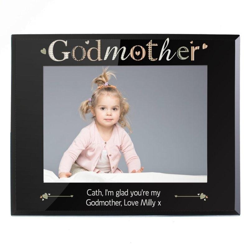 Personalised Godmother Black Glass 7x5 Photo Frame