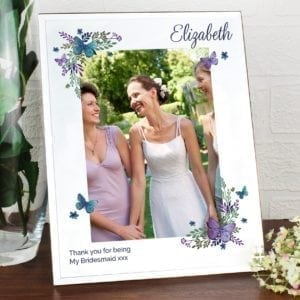 Personalised Butterfly 5x7 Mirrored Glass Photo Frame