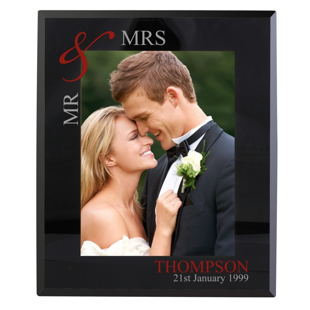 Personalised Ruby Couples 5x7 Black Glass Photo Frame