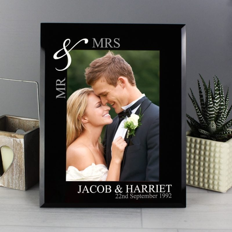 Personalised Silver Couples 5x7 Black Glass Photo Frame