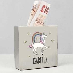 Personalised Unicorn Square Money Box