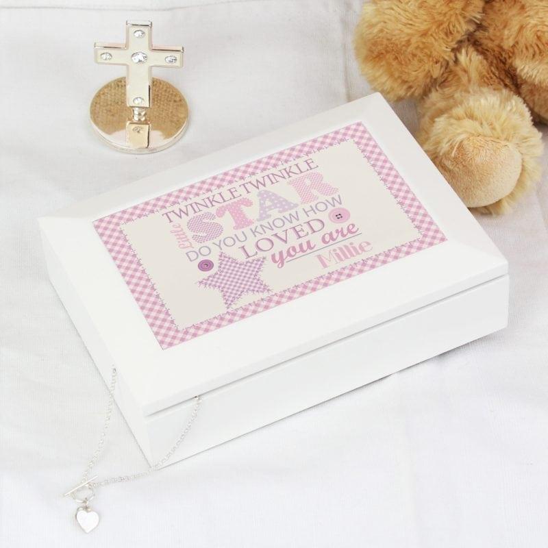 Personalised Twinkle Girls White Keepsake Box