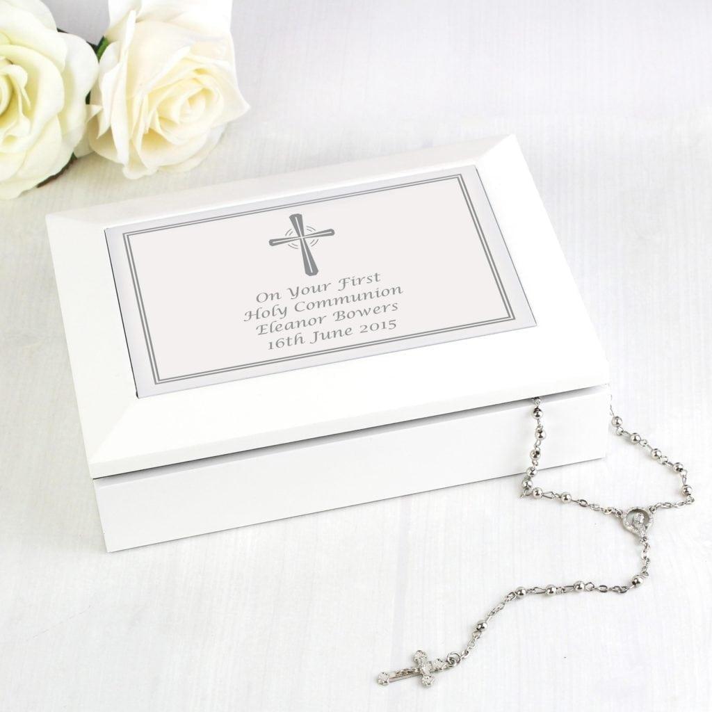 Personalised Silver Cross White Wooden Keepsake Box