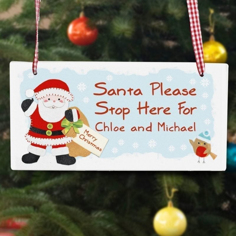 Personalised Felt Stitch Santa Stop Here Wooden Sign