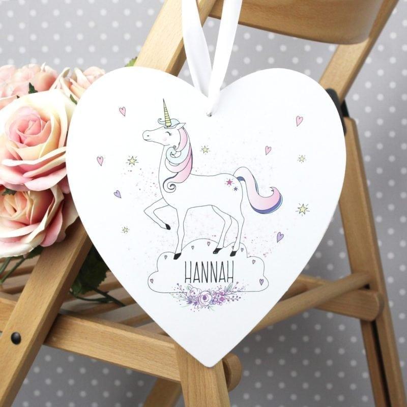 Personalised Unicorn Large Wooden Heart Decoration
