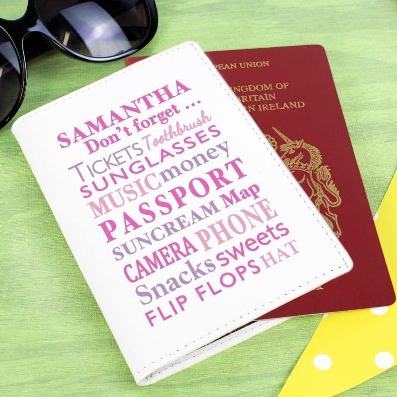 Personalised Dont Forget Cream Passport Holder