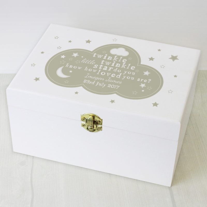 Personalised Twinkle Twinkle White Wooden Keepsake Box