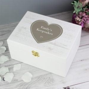 Personalised Rustic Heart White Wooden Keepsake Box