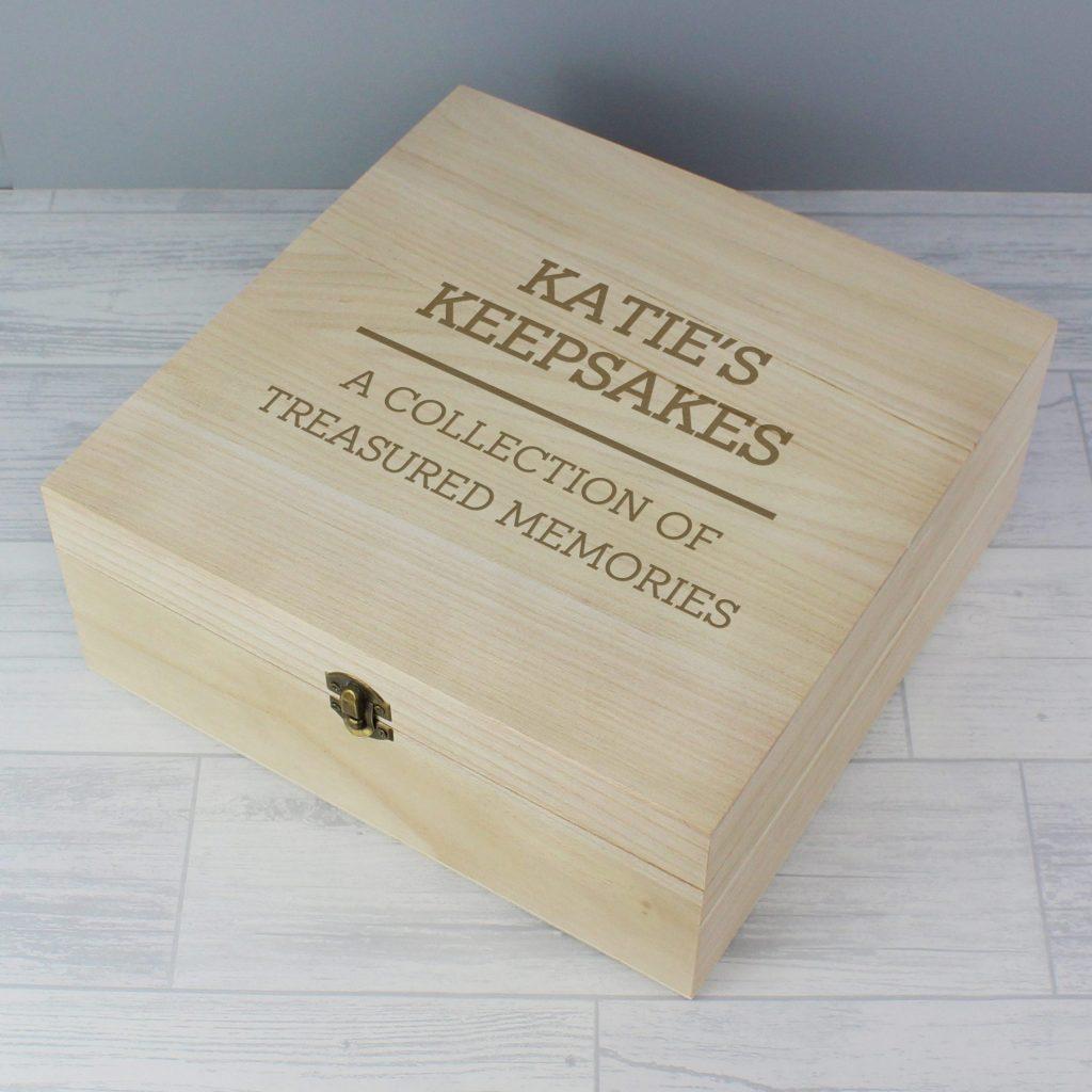 Personalised Any Message Large Wooden Keepsake Box