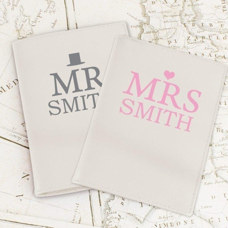 Personalised Mr & Mrs Top Hat Cream Passport Holders