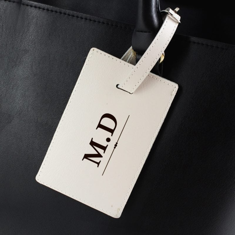 Personalised Classic Initials Cream Luggage Tag