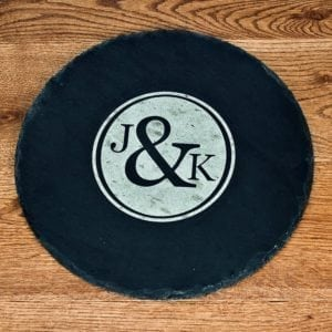 Couples Monogram Round Slate Cheese Board