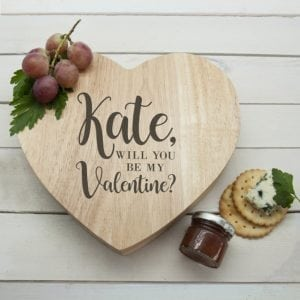 Engraved Be My Valentine Heart Cheese Board