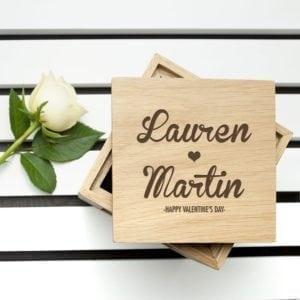 Engraved Couple's Names Oak Photo Cube