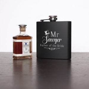 Father Of The Bride Personalised Black Matte Hip Flask