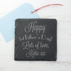 Happy 1st Father's Day Square Slate Keepsake