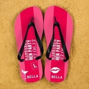 Hen Party Personalised Flip Flops in Pink