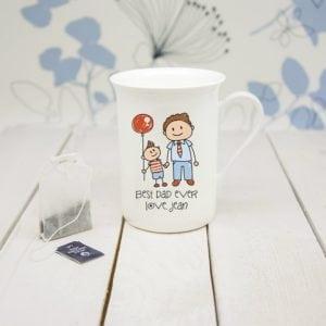 I Love My Dad Personalised Kid's Artwork Bone China Mug