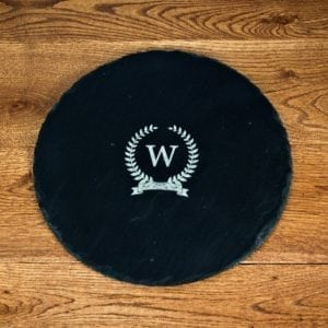 Initial Of Honour Round Slate Cheese Board