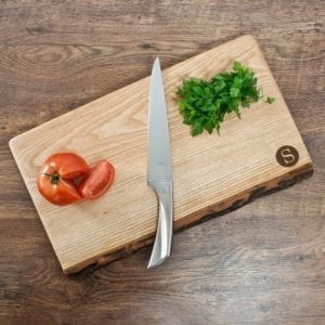Large Rustic Welsh Ash Chopping Board with Circle Monogram