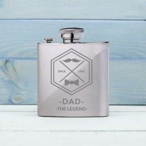 Legend Dad's Silver Hip Flask