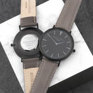 Men's Modern-Vintage Personalised Watch With Black Face in Ash