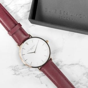 Modern - Vintage Personalised Leather Watch in Berry Red