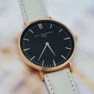 Modern - Vintage Personalised Leather Watch In Stone With Black Dial