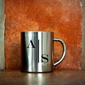 Monogram Stylised Initial Silver Outdoor Mug