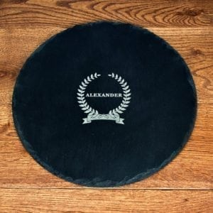 Name Of Honour Round Slate Cheese Board