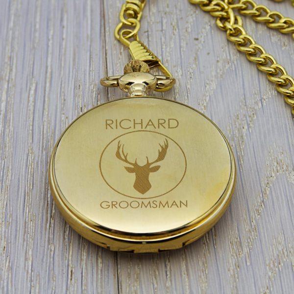 Personalised Groomsman Stag Pocket Watch