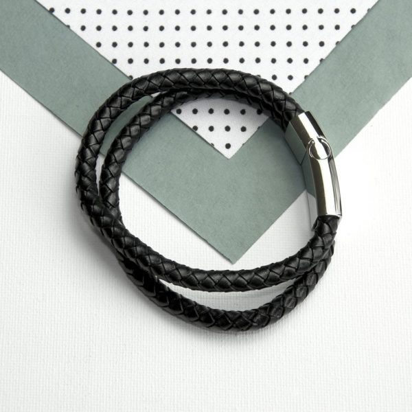 Personalised Men's Dual Leather Woven Bracelet In Black