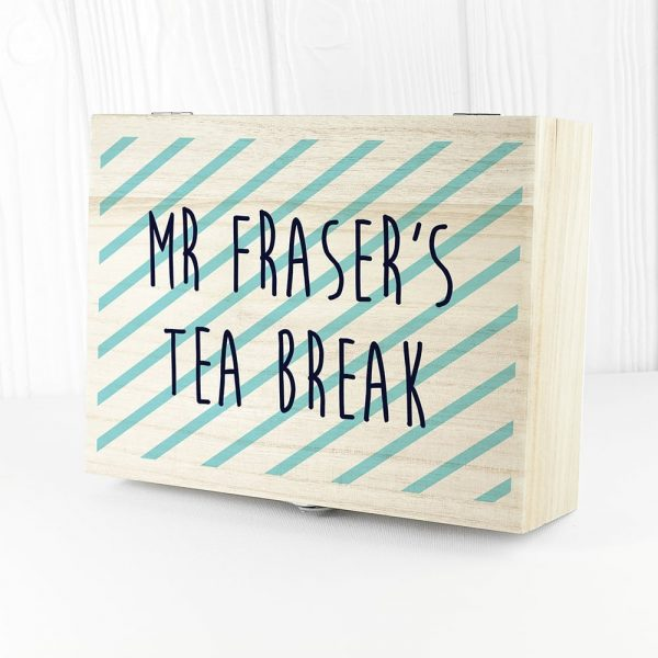 Personalised Teacher's Tea Break Box Stripes Design