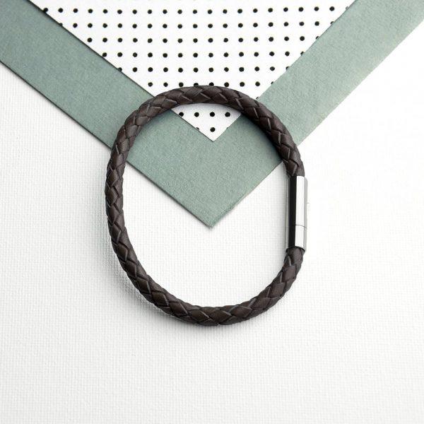 Personalised Men's Capsule Tube Woven Bracelet In Cedar Brown
