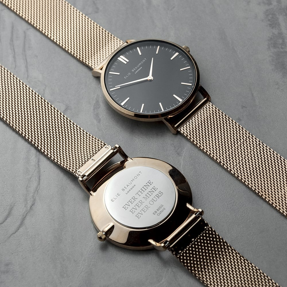 Personalised Rose Gold Mesh Strapped Watch With Black Dial