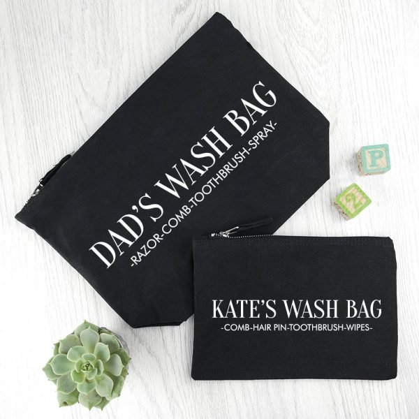 Personalised Daddy & Me Black Wash Bags