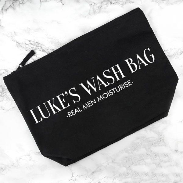 Personalised Men's Wash Bag in Black