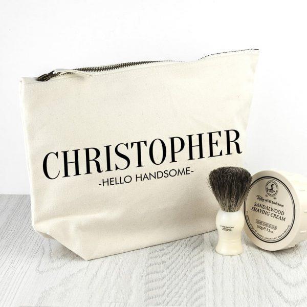Personalised Men's Wash Bag in Cream