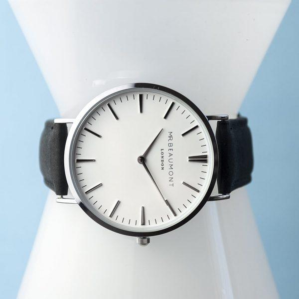 Men's Modern-Vintage Personalised Leather Watch In Black