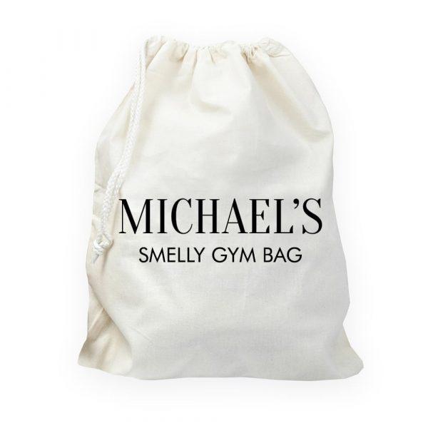 Personalised Cotton Cream Gym Bag
