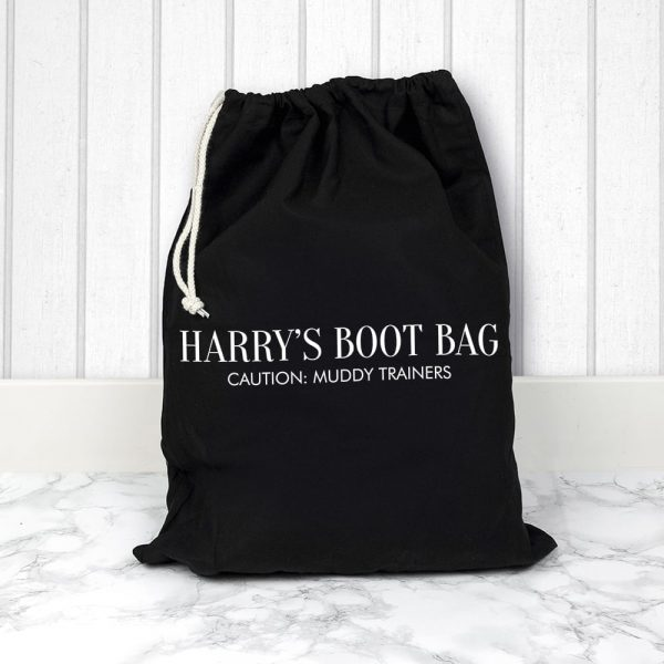 Personalised Black Boot Bag