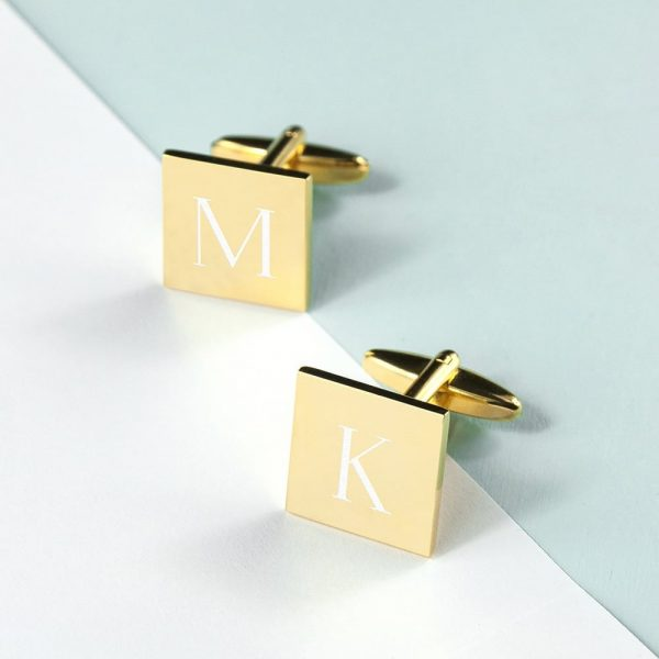 Personalised Square Gold Plated Cufflinks
