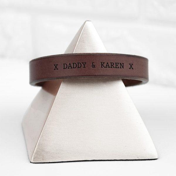 Personalised Men's Brown Leather Bracelet