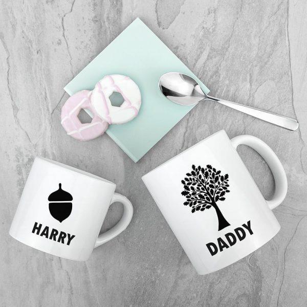 Personalised Daddy & Me Acorn Mugs