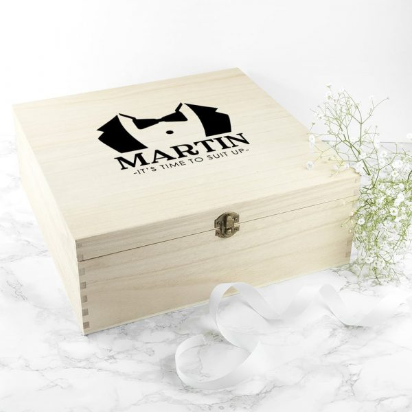 Personalised Suit Up Wedding Box